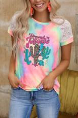 Cactus Tie-dye Crochet Raglan Tee