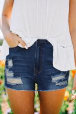 Short en jean bleu déchiré avec poches
