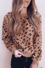 Brun fleece-genser med leopardprint