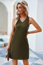 Hadsereg zöld mellkasú zsebtartályos mini ruha