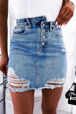 Slitasje kort jeansskjørt