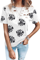 T-shirt à motif de feuilles à col ras du cou en détresse