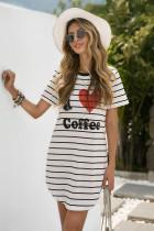 Robe pyjama à rayures graphiques I Love Coffee
