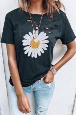 Black Distressed Crew Neck Daisy Grafisk T-skjorte