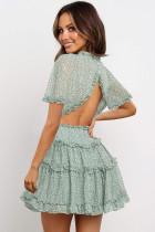 Πράσινο Floral εκτύπωσης V Neck Ruffle με μίνι φόρεμα