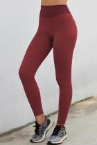 شلوار ساق بلند یوگای بالابر کمر قرمز