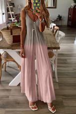 Růžová kombinéza s barevnými špagetami ve tvaru písmene V a širokými nohavicemi