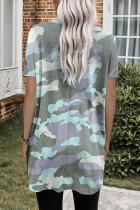 T-shirt z nadrukiem moro z kieszeniami
