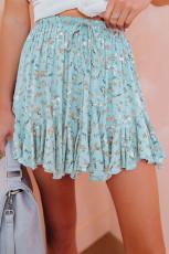 Blue Ruffled Floral Mini Skirt