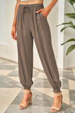 Cepli Kahverengi Büzgü İpli Bel Lastikli Pull-on Casual Pantolon