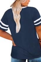 Blå plisserad Tie-färgad randig kortärmad V-ringad T-shirt