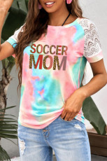 SOCCER MOM T-shirt آستین Graphic Lace Raglan آستین