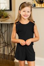 Siyah Fırfırlı Kolsuz Küçük Kız Tulum
