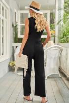 Černá kombinéza s širokými nohavicemi bez rukávů