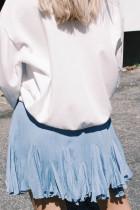 Blå koreansk høy midje Tutu plissert miniskjørt