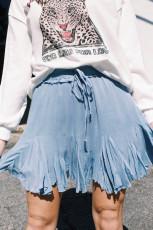 Blauer koreanischer Tutu-Falten-Minirock mit hoher Taille