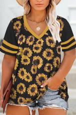 Zer Zebûr Zincîra Sunflower Print T-shirt Kirasê Kurte yê Xêzik V Nek