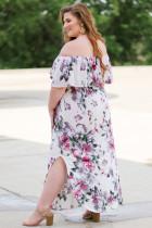 Květinové Maxi šaty přes rameno s květinami