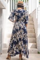 Granatowa sukienka maxi w kwiatowe wzory