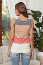 Flerfärgad stickad linne i färgblock
