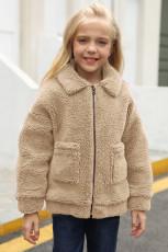 Khaki klopě na zip kapsy dívčí kabát Sherpa