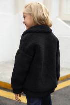 Dívčí kabát Sherpa s černými klopami na zip