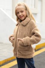 Dívčí kabát Sherpa s hnědými klopami na zip