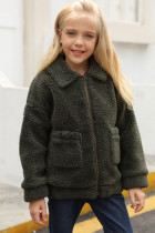 Dívčí kabát Sherpa se zelenými klopami na zip
