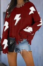 Röd tröja med stickad bult