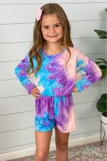 보라색 긴 소매 탄력있는 허리 넥타이 염색 소녀 장난 꾸러기