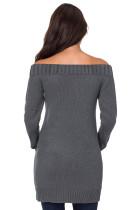Šedé svetrové šaty s ramenními pletenými rameny