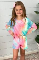 Rose Uzun Kol Beli Lastikli Batik Kız Çocuk Tulum