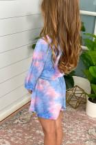 Gök Mavisi Uzun Kol Beli Lastikli Batik Kız Çocuk Tulum