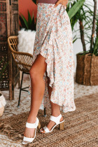 Wrap Style High-low Ruffle Hemline Floral Skirt