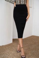 Solidna, z wysokim stanem, czarna spódnica Bodycon Maxi