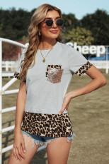 Maglietta impiombata leopardata con paillettes grigie