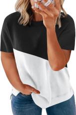 Černé tričko s barevným výstřihem Colorblock Plus velikosti