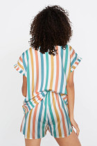 Set pigiama con colletto rovesciato a righe multicolor