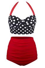 Röd Vintage Grime Push Up Polka Dot Hög midja mage kontroll Plus storlek Bikini