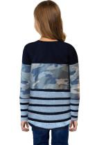 Camo Striped Color Block -tyttöjen Crewneck-pitkähihainen paita