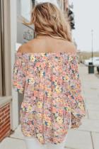 Off Shoulder Smocked Floral Top