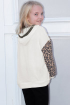 Beige Leopard Print Colorblock Lasten huppari