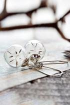 Kolczyki ze szklaną kulą z nasionami mniszka lekarskiego