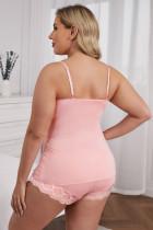 Rosa blonder skjøte Cami topp og shorts undertøy sett i større størrelse
