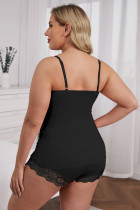 Lace Black Splicing Cami Top and Shorts Plus Size Set Lingerie