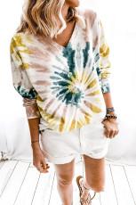 Sweatshirt T-dye Casual V Neck Pullover
