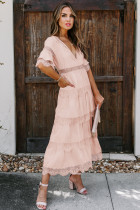 Różowa, prześwitująca, koronkowa, warstwowa sukienka w kropki