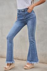 Ham Kenarlı Orta Yıkanmış Yüksek Bel Flare Jeans