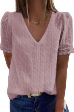 Vaaleanpunainen Swiss Dot Lace V -kauluspaita