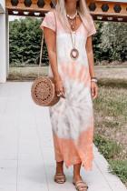 Oranžové Maxi šaty s výstřihem do V a výstřihem do V